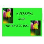 Tarjeta de nota personal del tulipán