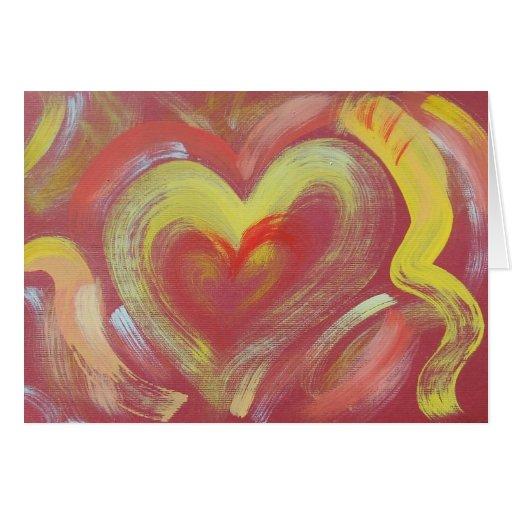 Tarjeta de nota pintada a mano - llama del corazón