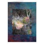 Tarjeta de nota pintada de la flor del cactus del