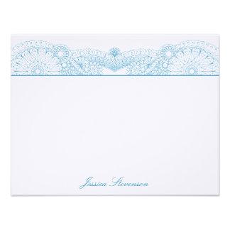 Tarjeta de nota plana de encargo de la alheña (azu comunicado personalizado