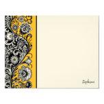 Tarjeta de nota plana de la barra lateral floral comunicado personal