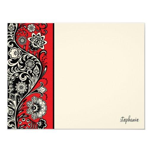 Tarjeta de nota plana de la barra lateral floral invitación
