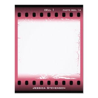 """Tarjeta de nota plana de la película (rosa) invitación 4.25"""" x 5.5"""""""
