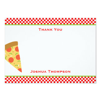 "Tarjeta de nota plana de la pizza invitación 5"" x 7"""