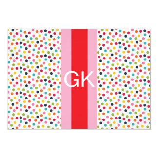 """Tarjeta de nota plana del monograma rosado y rojo invitación 3.5"""" x 5"""""""