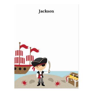 Tarjeta de nota plana del pirata lindo postales
