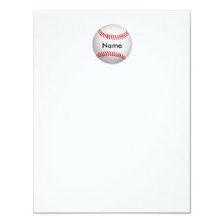 """Tarjeta de nota plana personalizada del béisbol invitación 4.25"""" x 5.5"""""""