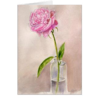 Tarjeta de nota preciosa de la flor del Peony