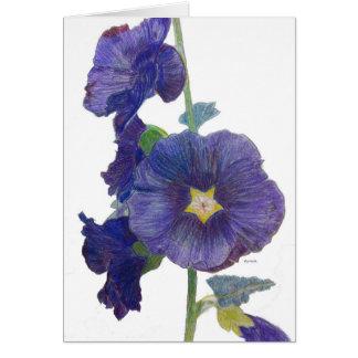Tarjeta de nota púrpura de los Hollyhocks