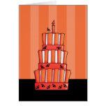 Tarjeta de nota rayada anaranjada de la torta de l