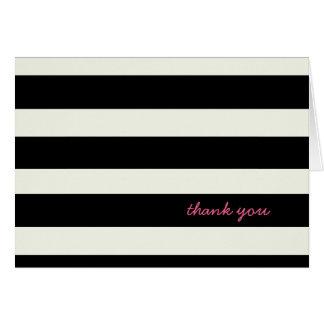 Tarjeta de nota rayada blanco y negro