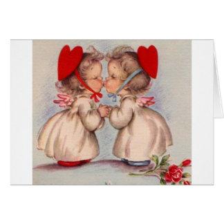 Tarjeta de nota retra del el día de San Valentín d
