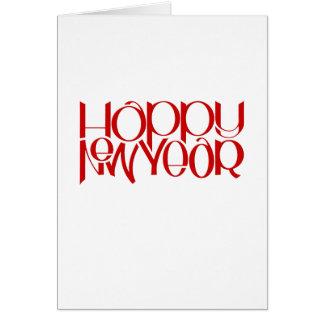 Tarjeta de nota roja de la Feliz Año Nuevo