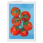 Tarjeta de nota roja de los tomates
