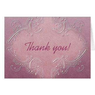 Tarjeta de nota rosada adornada