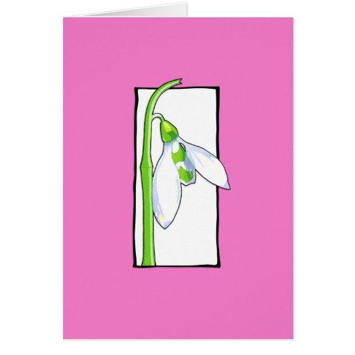 Tarjeta de nota rosada blanca de Snowdrop