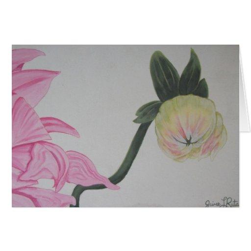 Tarjeta de nota rosada de la flor