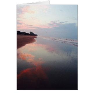 Tarjeta de nota rosada de la salida del sol de la