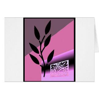 Tarjeta de nota rosada del espacio en blanco del t