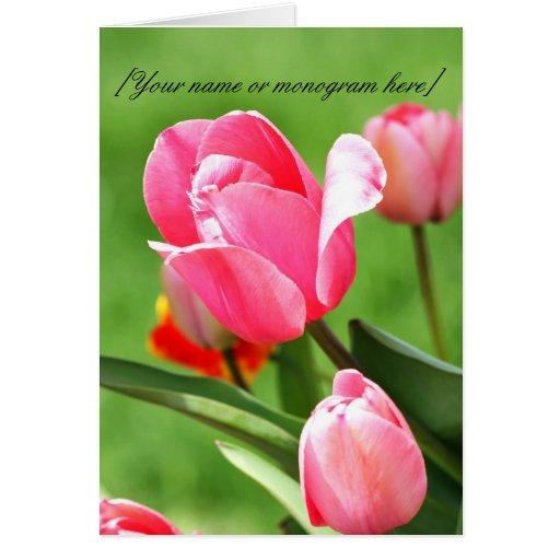 Tarjeta de nota rosada del tulipán