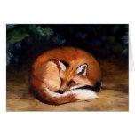 Tarjeta de nota soñolienta del arte del Fox rojo