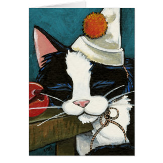 Tarjeta de nota soñolienta del payaso del gato del