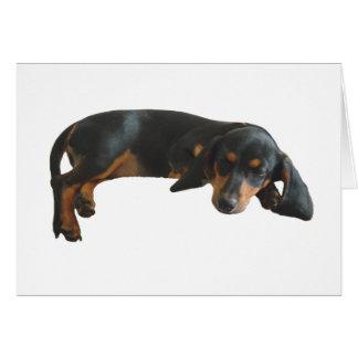 Tarjeta de nota soñolienta del perrito