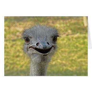 Tarjeta de nota sonriente de la avestruz