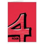 Tarjeta de nota tonta del rojo del número 4