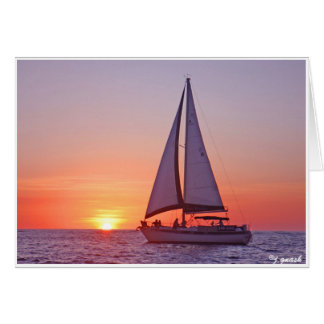 Tarjeta de nota -- Vela de la puesta del sol en Ta