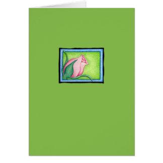 Tarjeta de nota verde color de rosa