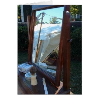 Tarjeta de nota vieja del espejo