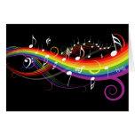 Tarjeta de notas blanca de la música del arco iris