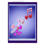 Tarjeta de notas rosada del pájaro y del amor