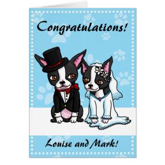 Tarjeta de novia y del novio de Boston Terrier
