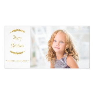 Tarjeta de oro de la foto del navidad de las ramas tarjeta fotografica