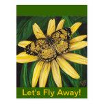 Tarjeta de oro de la mariposa postales
