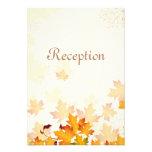 Tarjeta de oro de la recepción nupcial de las hoja invitaciones personalizada