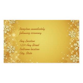 Tarjeta de oro de la recepción nupcial de los tarjetas de visita