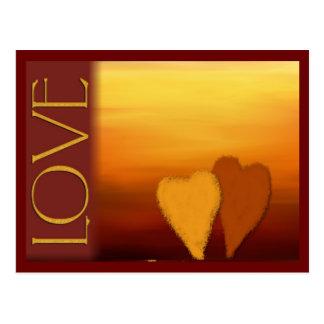 Tarjeta de oro del amor de la puesta del sol postal