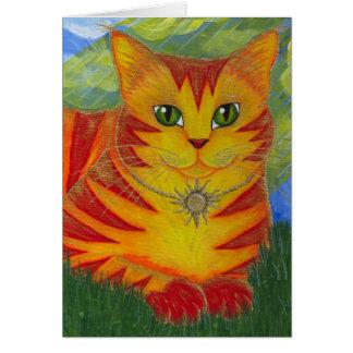 Tarjeta de oro del arte de la fantasía del gato de
