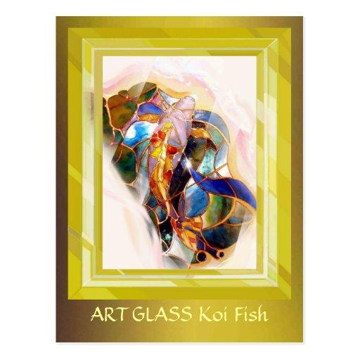 Tarjeta de oro del arte elegante de los pescados postal