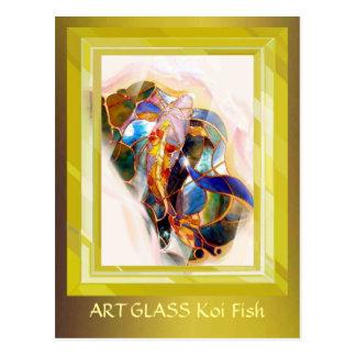 Tarjeta de oro del arte elegante de los pescados tarjetas postales