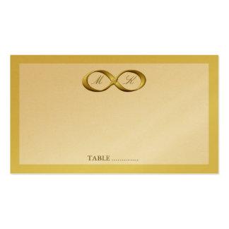 Tarjeta de oro del lugar del boda del corchete de tarjetas de visita