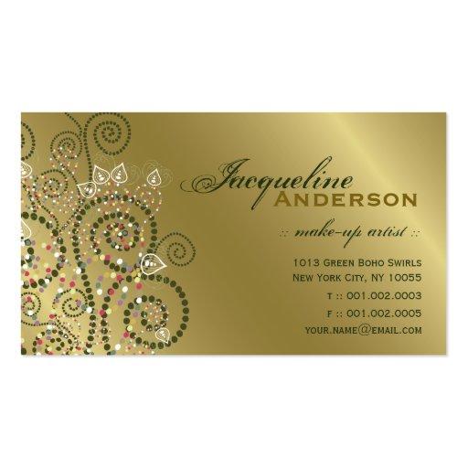 Tarjeta de oro del perfil de los espirales verdes tarjetas de visita