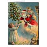 Tarjeta de Papá Noel del vintage
