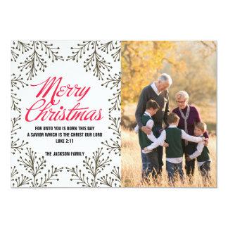 """Tarjeta de papel de la foto de las Felices Navidad Invitación 5"""" X 7"""""""