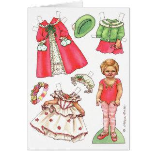 Tarjeta de papel de la muñeca del navidad