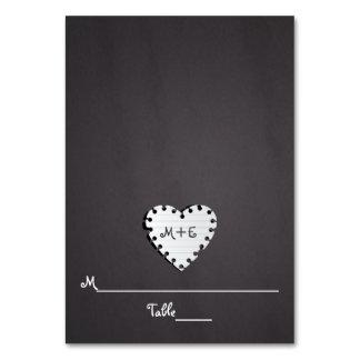 Tarjeta de papel del lugar del boda del monograma