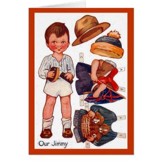 Tarjeta de Paperdoll Little Boy Jimmy del vintage